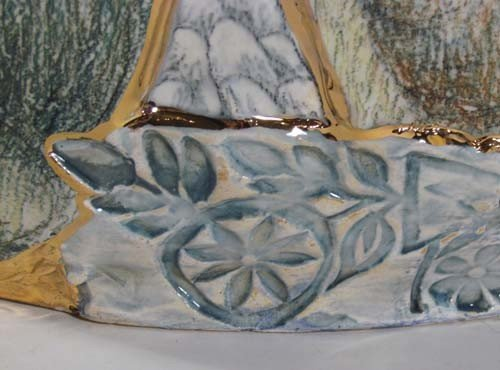 222: Mary Lou Higgins Figural Painted Ceramic Vase - 4