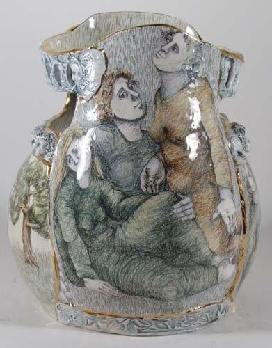 222: Mary Lou Higgins Figural Painted Ceramic Vase - 5