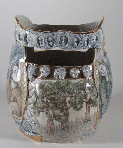 222: Mary Lou Higgins Figural Painted Ceramic Vase - 6