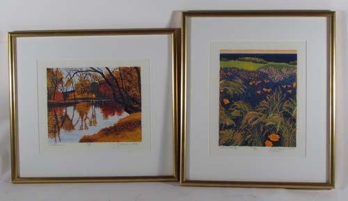 308: pair of Gordon Mortensen color reduction woodcuts,