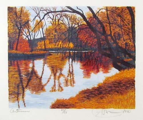 308: pair of Gordon Mortensen color reduction woodcuts, - 5