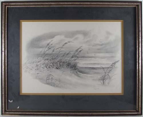 396: Pair John Shryock pencil drawings of Beach Dunes