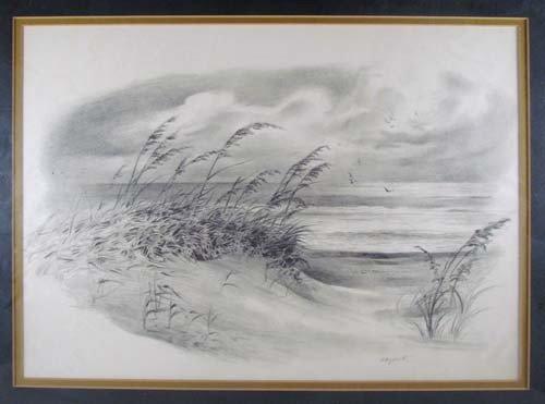 396: Pair John Shryock pencil drawings of Beach Dunes - 3