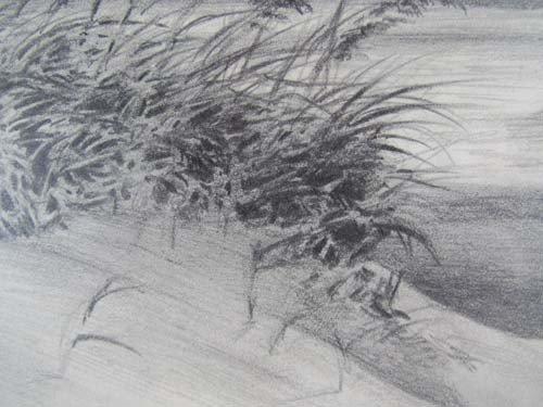 396: Pair John Shryock pencil drawings of Beach Dunes - 4