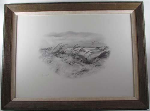 396: Pair John Shryock pencil drawings of Beach Dunes - 5