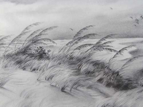 396: Pair John Shryock pencil drawings of Beach Dunes - 7