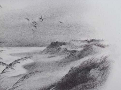 396: Pair John Shryock pencil drawings of Beach Dunes - 8