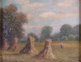 A. Lanier Oil Painting Landscape With Haystacks