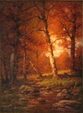 Charles Linford Painting Autumn Scene