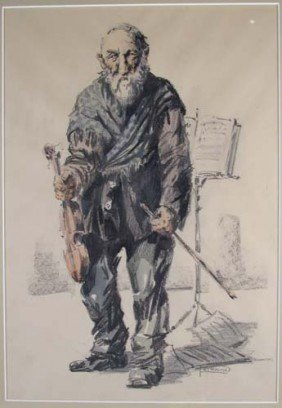 "Milan Petrovits Drawing ""The Street Musician"""