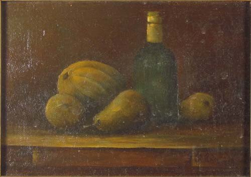 141: Miniature still life of Fruit and Wine Bottle