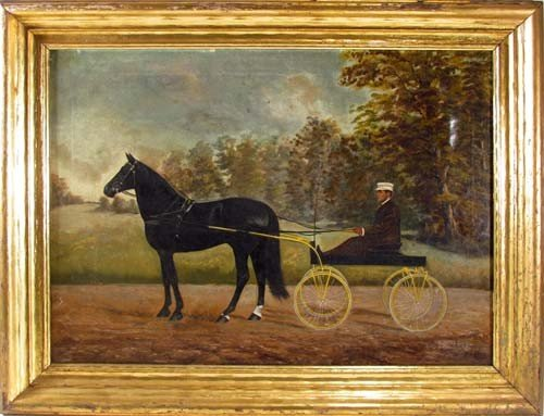 """144: Daniel W. Smith ptg. """"Black Horse with Buggy"""""""