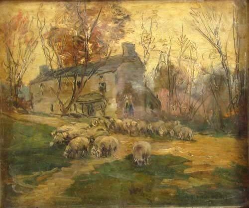 146: A. Bryan Wall Sheep Outside the Farm House ptg