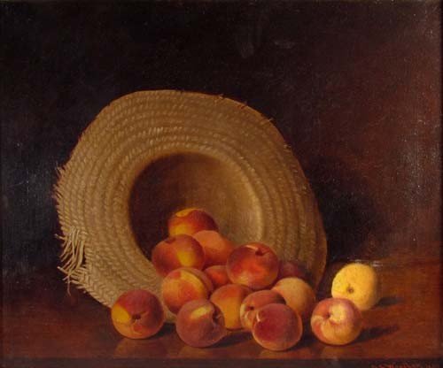 153: Austin Wooster Still Life of Peaches in Straw Hat