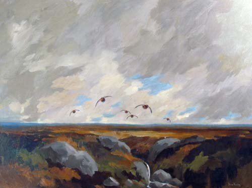 """136A: Brian Rawling oil """"Birds in Flight over the Moors"""