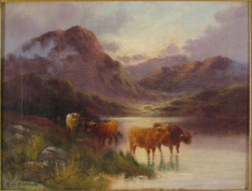 "115: Alfred De Breanski, Sr. ""Highland Cattle"" painting"