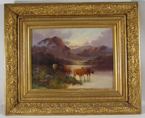"115: Alfred De Breanski, Sr. ""Highland Cattle"" painting - 2"