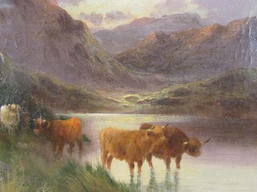 "115: Alfred De Breanski, Sr. ""Highland Cattle"" painting - 3"