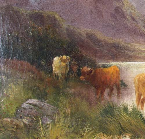 "115: Alfred De Breanski, Sr. ""Highland Cattle"" painting - 4"