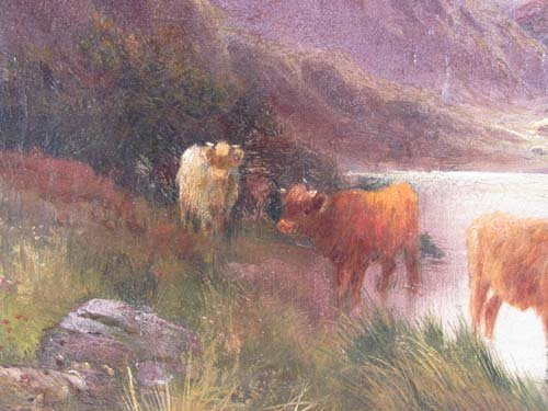 "115: Alfred De Breanski, Sr. ""Highland Cattle"" painting - 6"