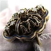 237: Victorian Gold, Diamond, Emerald, Enamel ring
