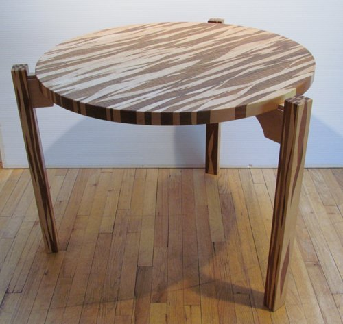 500: Tadao Arimoto Two Wood Table with hammered decorat