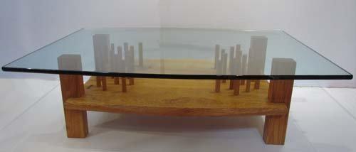 501: Tadao Arimoto Glass Topped Coffee Table