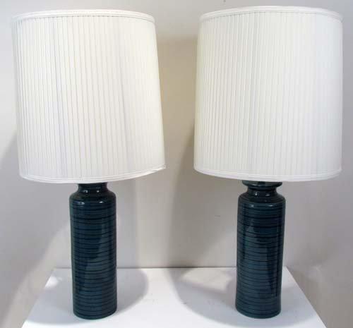 503: Pair of Turquoise Baldelli Ceramic Lamps