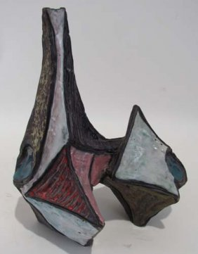 Marcello Fantoni Glazed Stoneware Sculptural Vase