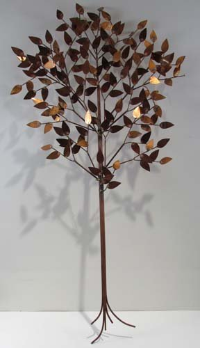 518: Curtis Jere copper and brass Tree of Life Relief