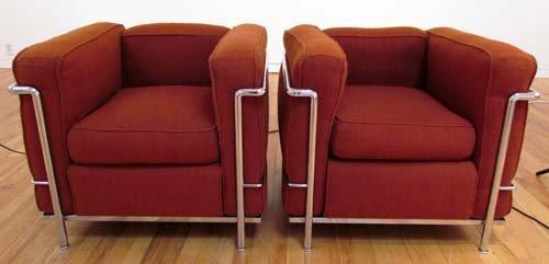 523: 2 Le Corbusier Cassina LC2 Armchairs