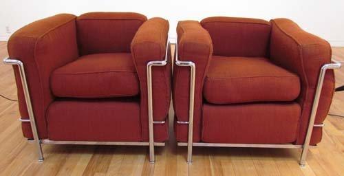 524: 2 Le Corbusier Cassina LC2 Armchairs