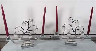 568: Pair Art Deco Chrome and Lucite & Glass Candelabra