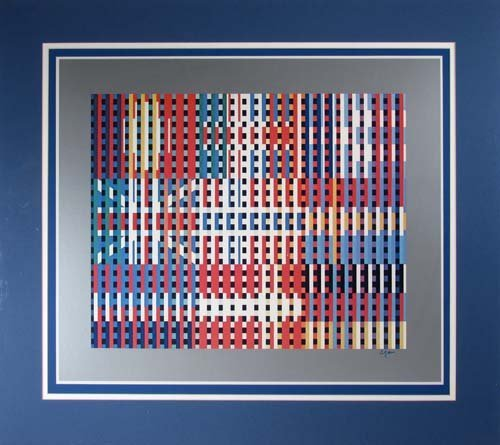 """593: Yaacov Agam offset lithograph """"Flags of All Nation"""