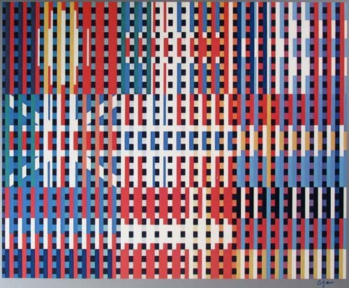"""593: Yaacov Agam offset lithograph """"Flags of All Nation - 2"""