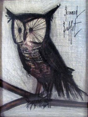 "BERNARD BUFFET ""OWL"" Limited Edition Lithograph"