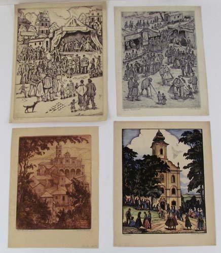 636: 5 etchings by Julius Conrad, Paris and Europe