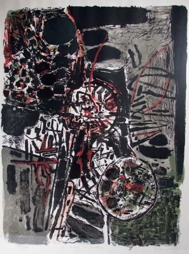 """638: Corneille orig litho """"Arbre et Rochers"""" 1962"""