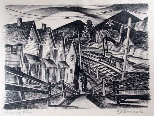 "643: Robert J. Cronauer litho ""River Coal Town"""