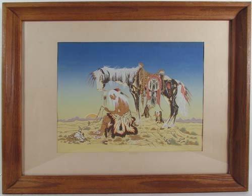 644: Woody Crumbo orig serigraph of Desert by Native Am