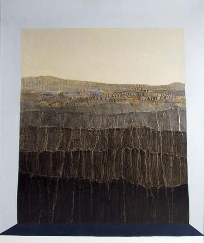 """650: John Day oil and collage """"View of Erebos"""""""