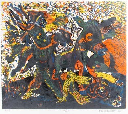 """651: Nick De Matties color woodcut """"Puck"""""""