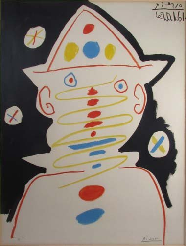 746: Pablo Picasso 1961 signed Clown lithograph for Car