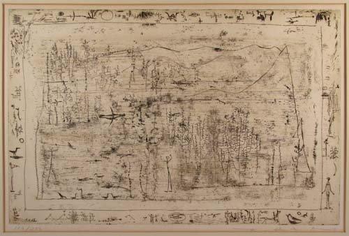 """832: ZAO WOU KI 1951 orig etching """"Flora and Fauna"""""""