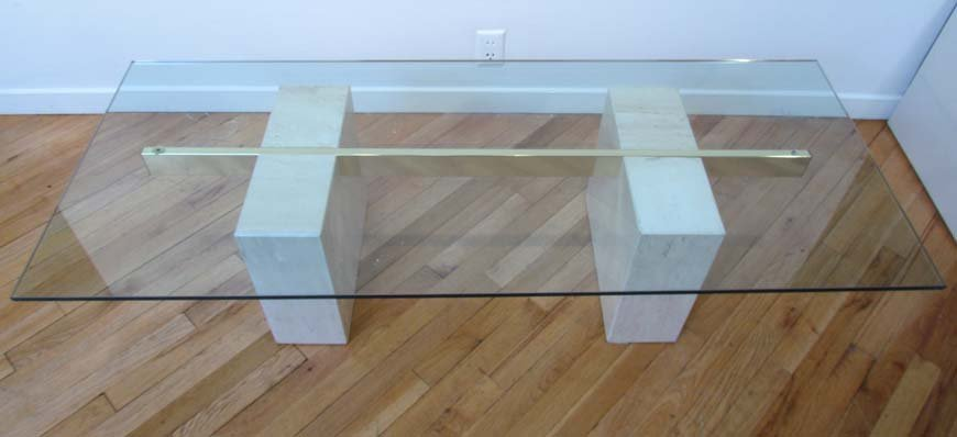 450: Marble, Glass and Brass Modern Coffee Table