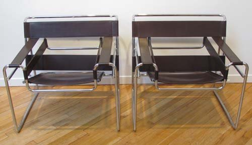 459: Pair of Knoll Breuer Wassily Aubergine Leather Cha