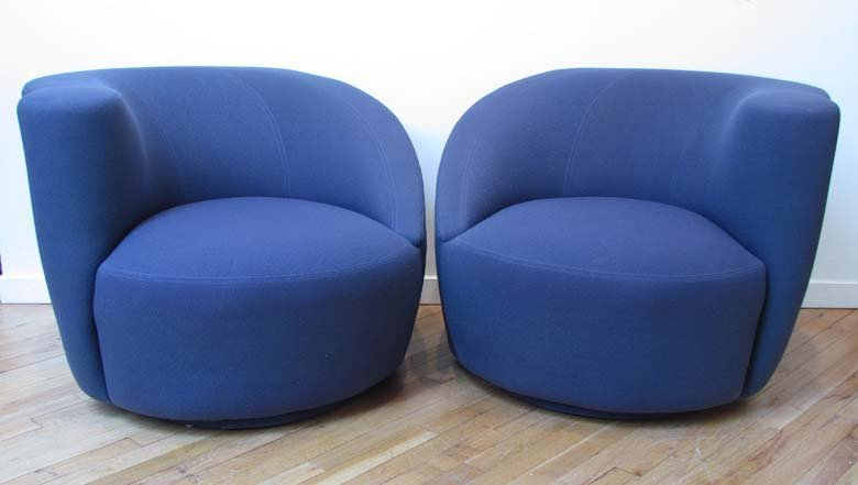 465: VLADIMIR KAGAN Pair of Nautilus lounge chairs