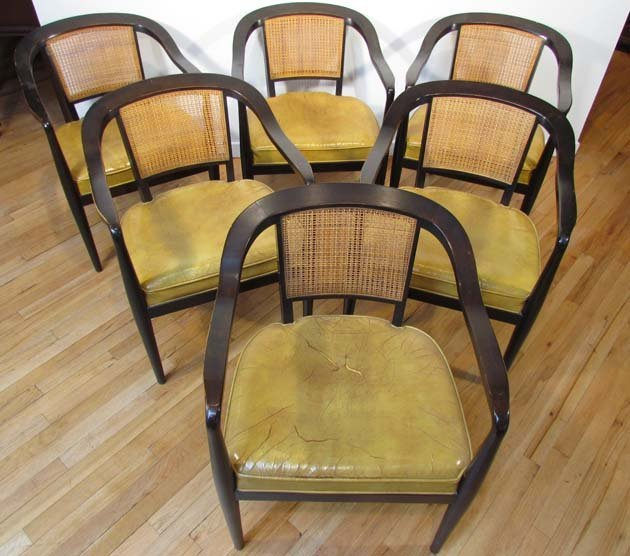472: 6 Dunbar style dining chairs with cane backs and e
