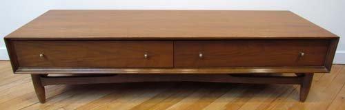 473: Two drawer walnut veneer low coffee table