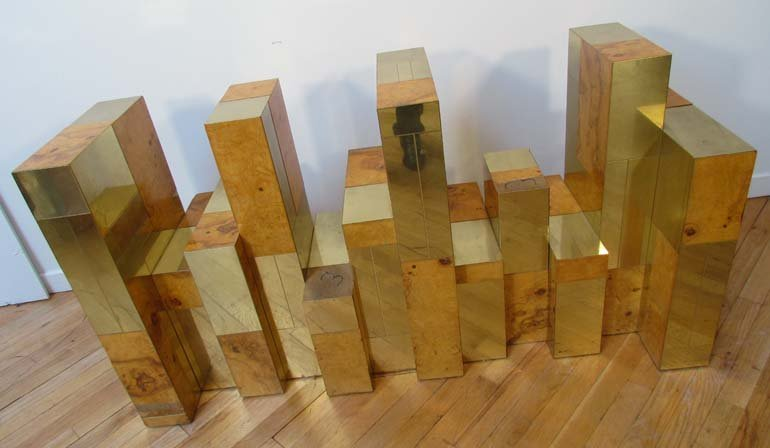 477: Paul Evans Cityscape dining table wood and brass v